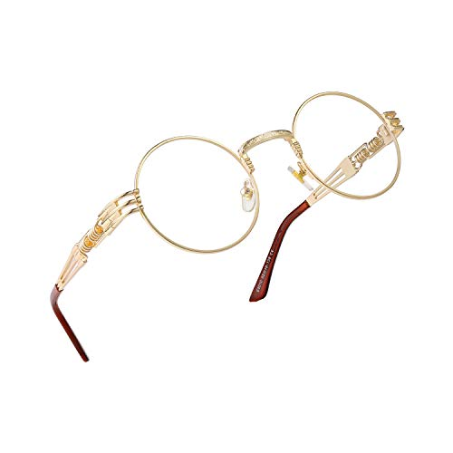 RANHUU Steampunk Round Glasses for Men and Women John Lennon Glasses Quavo Circle Metal Frame Eyewear (Gold Frame/Clear Lens/Brown Temple), Small
