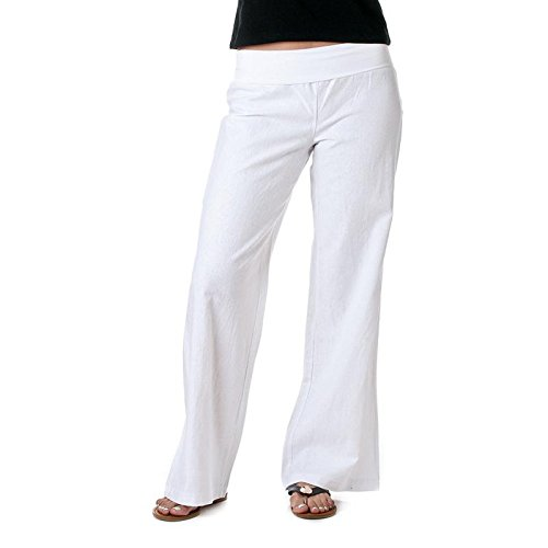 Love Tree Womens Fold-Over Waist Linen Pants (White, Large)