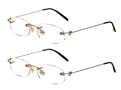 SOOLALA 2 Pairs Unisex Designer Lightweight Rimless Quality Readers Thin Reading Glasses, 3.0x