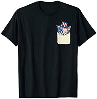 Funny Cat shirt in Pocket American Flag Patriotic July 4th T-shirt | Size S - 5XL
