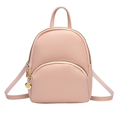 Fashion Lady Shoulders Small Backpack with Headphone Plug Letter Purse Mobile Phone Messenger Bag (Pink)