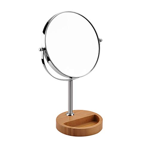 (DONGYUER Fashion Double Sided Desktop Makeup Mirror Amplification Dressing Mirror Bamboo Wood Storage Box Base Beauty Mirror Metal Amplification Mirror,6inch)