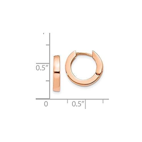 14K Rose Gold 9mm Round Flat Hinged Huggie Hoop Earrings