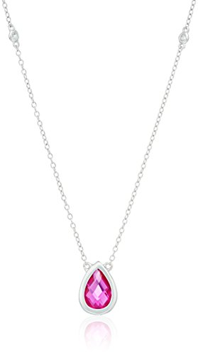 (sterling silver lab-created pink sapphire and genuine white topaz station pendant necklace, 16