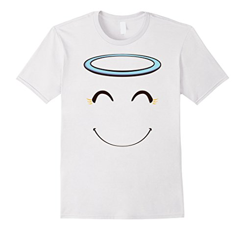 Mens Smiling Angel Emoticon Face Halloween Costume T-Shirt XL (Men Costume Angel)