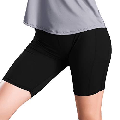 SOWU Women Yoga Short Pants Ladies Fashion Pure Color Screen Pocket High-Rise Sports Fitness Mini Trousers Black