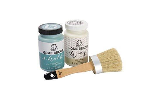 FolkArt HomeDécor Chalk Beginner Paint and Wax Kit with brush, (8 oz) Clear Wax, 8(oz) Cascade Paint, PROMO34159C from FolkArt