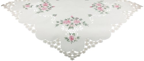 Xia Home Fashions Bloom Embroidered Cutwork Floral Table Topper, 34 by 34-Inch by Xia Home Fashions (Image #1)
