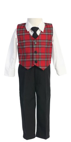 Special Occasion Holiday Christmas New Year Red Plaid Suit Boy's 5 Boys Holiday Plaid Vest