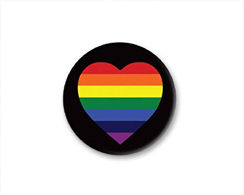 Heart Novelty Buttons - Fundraising For A Cause Gay Pride Rainbow Heart Round Button Pin in a Bag (1 Pin - Retail)