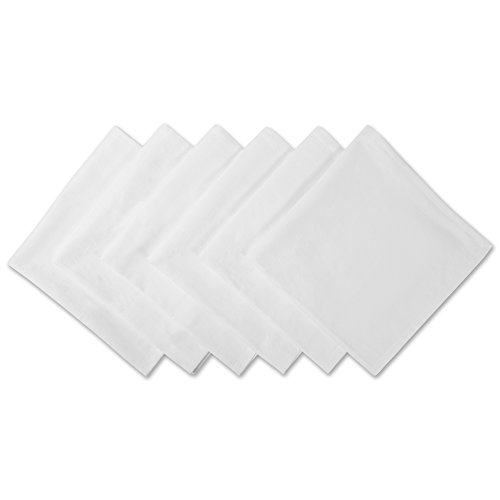 DII 100% Cotton Cloth Napkins, Oversized 20x20 Dinner Napkins, For Basic Everyday Use, Banquets, Weddings, Events, or Family Gatherings - Set of 6, White