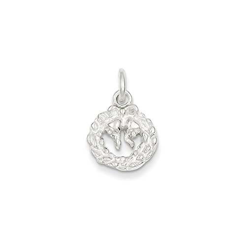 Sterling Silver Solid Polished Wreath Charm