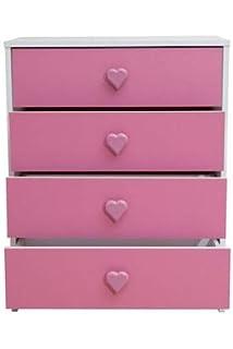 Devoted2Home Hearts childrens bedroom furniture kids wardrobe pink ...