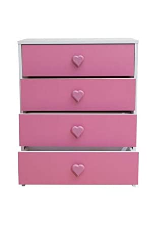 Incredible Devoted2Home Childrens Bedroom Furniture 4 Chest Of Drawers White And Pink Heart Handle Wood And Plastic 35 2X59 8X75 3 Cm Download Free Architecture Designs Pushbritishbridgeorg