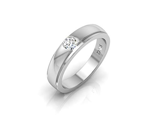 14K Gold with 0.30 Carats Satin Glossy Finish Flush Set Solitaire Diamond Mens Band Ring-RM1207 (I Color, SI1 Clarity)