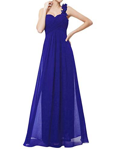 monospalla Signore Vestito damigella da Blu Reale Lungo VKStar Da Sera Abiti chiffon Dress qIn0vgftw