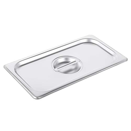 (1/3 Size Stainless Steel Solid Steam Table Pan Cover, Pan Lids, Non-Stick Surface, Lid for 1/3 Size Steam Pans with Handle)