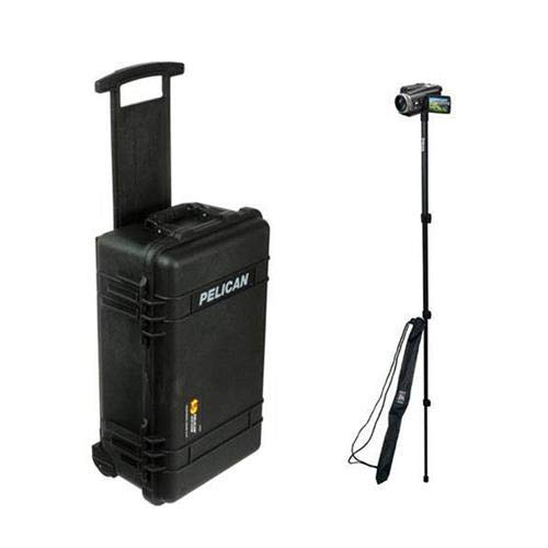 (Pelican 1510 Case, Watertight Hard Case with Yellow and Black Padded Dividers and Wheels, Black, with Ape Case 52in Lightweight Monopod with Case)