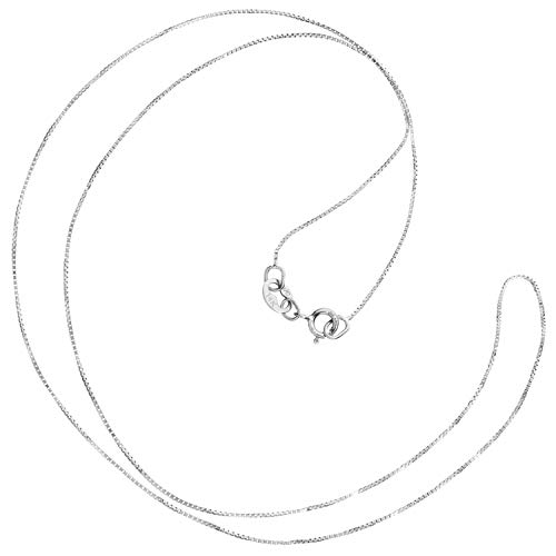 (14K Solid White Gold Necklace | Box Link Chain | 16 Inch Length | .60mm Thick | With Gift Box )
