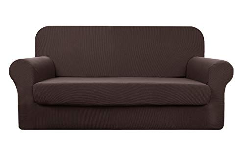 YUUHUM Stripes Couch Covers 2-Piece Super Stretch Sofa Covers Pet Dog Couch Slipcovers (Sofa, Coffee)