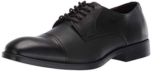 Cap Toe Nappa Oxford - Calvin Klein Men's Conner Oxford, Black Dress Calf/Small Grid Emboss, 9 M M US