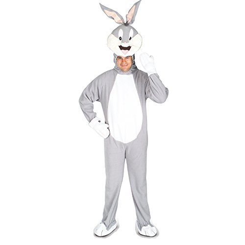 Looney Tunes Bugs Bunny Adult Costume, Gray, Standard (Rabbit Costumes For Adults)