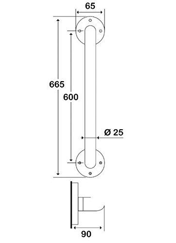 Godonnier Barre De Rel/èvement Droite Acier /Époxy Blanc /Ø 25-60 Cm