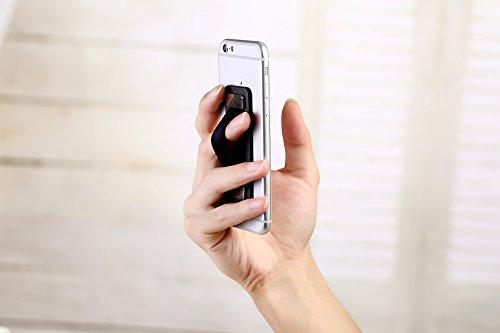 Cerbery® | Porta-dedos para smartphone hecho de cuero | Soporte sostenedor dedo coche teléfono celular caja teléfono móvil mano | Apple iPhone 7 8x iPad Samsung Galaxy S8 e-Reader Tablet (Negro) Beige