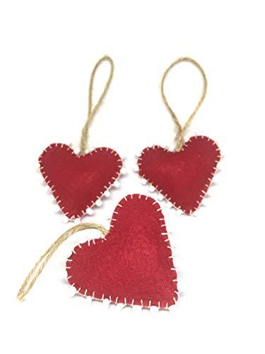 Hanging Burgundy Hearts Beaded Ornament Set of 3 with Natural Hemp Thread Decoration Festive Season