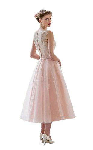 Damen Eine Linie Brautjungfernkleid Kurze Spitze Tulle Partykleider Engerla Rosa Cocktailkleider dgxIRww