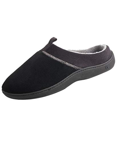 ISOTONER Men's Microterry Jared Moccasin Slippers with Memory Foam, Black, Medium