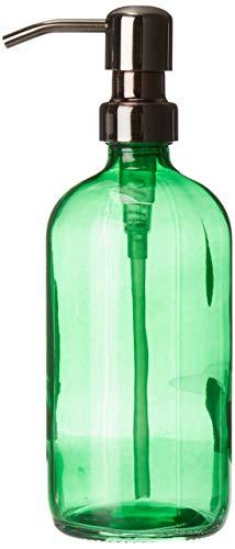 (Industrial Rewind Bankers Green Glass Kitchen/Bathroom Hand Soap Dispenser with Gun Metal Bronze Metal Pump - Green 16oz Glass Bottle Lotion Bottle)