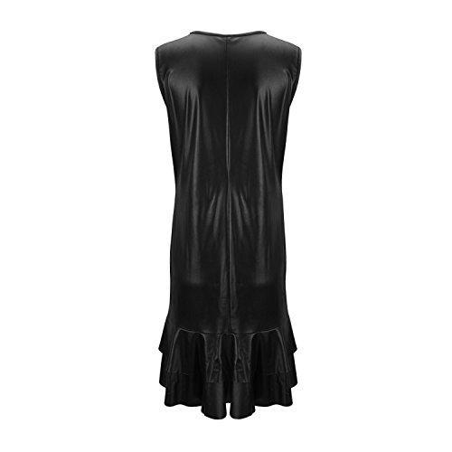 Senza Nero Cuoio Vestito Dell'unità Formale Maniche Clubwear Bodycon Da Donne Sexy Di Elaborazione Chen Partito xRwnEAF