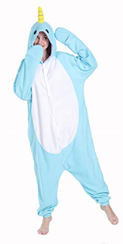 Funnyparty Unisex Aldult Pajamas Halloween Narwhal Costume Blue Cosplay Animal]()