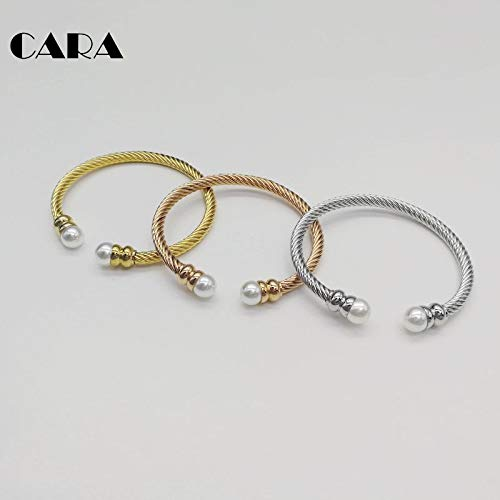 - TTO Bangles - New Free Size 3pcs Freshwater Pearl Cable Bangle Bracelet 3 Color Women Fashion Cable Cuff Bracelet Set jewelries CARA0392 1 PCs