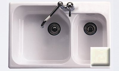 - Rohl 6317-68 33-Inch Allia Double Basin Drop-In Fireclay Kitchen Sink with Single Faucet Hole, Biscuit