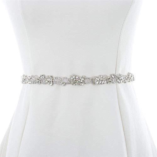 XINFANGXIU 1 Yard Rhinestone Bridal Wedding Dress Applique 1 Yard Crystal Trim Trimming Sew Iron on Hot Fix for Bridal Wedding Sash Bridesmaid Gown Womens Prom Formal Belt