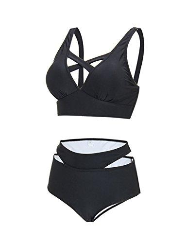 Noir Sexy Tankini Ensemble Set De Haute Maillot 1 Brésilien 2 Femme Taille Bain Push Bikini Pièces Feelingirl Up 8zwBaqSIg