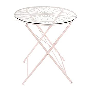 Kate and Laurel Kate Laurel Thrapston Metal Glass Round Dining Table, Pink