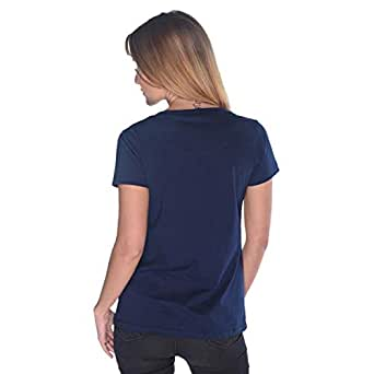 Creo Yellow Beard Skull T-Shirt For Women - M, Navy Blue
