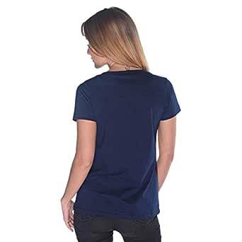 Creo Yellow Beard Skull T-Shirt For Women - L, Navy Blue