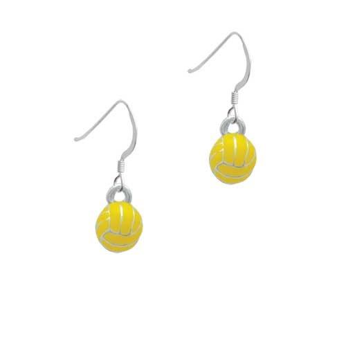 3-D Enamel Water Polo Silver French Charm Earrings