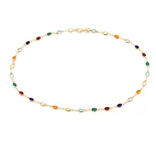 - Barzel 18K Gold Plated Gold and Multi Color Crystal Baguette Anklet (Multicolor Dark Oval)