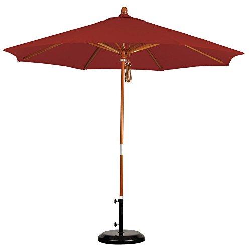 California Umbrella 9' Round Hardwood Frame Market Umbrella, Stainless Steel Hardware, Push Open, Pacifica Capri