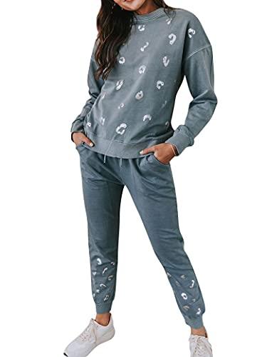 PLNCAYFZ Women Shiny Silver Spots Graphic Print Elastic Drawstring Waistband Athletic Set