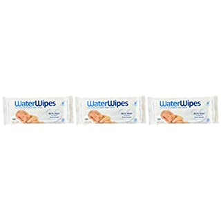 WaterWipes Baby Wipes, 3 Packs of 60 Wipes, Unscented, 3 Count (Pack of 3)