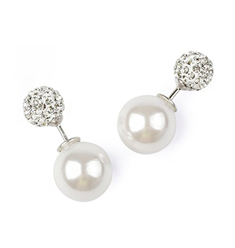 Designer Pearl Stud - blackbox Jewelry Sterling Silver Reversible Studs Earrings White Cubic Zirconia and Simulated Shell Pearl