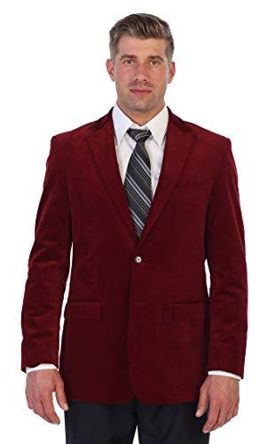 Gioberti Mens Velvet Blazer Jacket, Wine, 40 Short