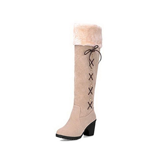 Solid AgooLar Heels Pull High Boots Toe Women's Closed on Beige Suede Imitated Round g6wSwqx5CW