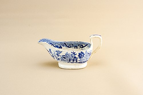 Antique White Gravy (Antique Blue And White Pottery Willow GRAVY BOAT Kitchen Victorian Classical Medium Serving English Mid 19th Century LS)
